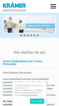 Vorschau der mobilen Webseite www.gesundimnorden.de, Sanitätshaus Krämer