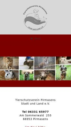 Vorschau der mobilen Webseite www.tierheim-pirmasens.com, Tierheim Pirmasens e. V.