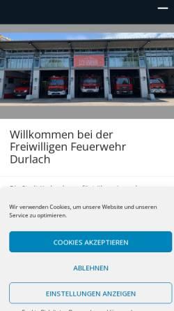 Vorschau der mobilen Webseite www.ff-durlach.de, Freiwillige Feuerwehr Karlsruhe Durlach