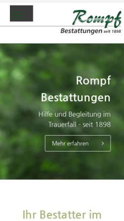 Vorschau der mobilen Webseite www.rompf-bestattungen.de, Rompf Sargfabrik-Bestattungen GmbH
