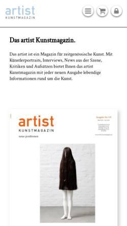 Vorschau der mobilen Webseite www.artist-kunstmagazin.de, artist Kunstmagazin