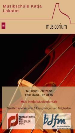 Vorschau der mobilen Webseite www.musicorium.de, Musicorium
