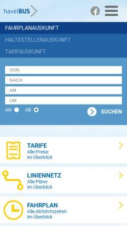 Vorschau der mobilen Webseite www.havelbus.de, Havelbus Verkehrsgesellschaft mbH