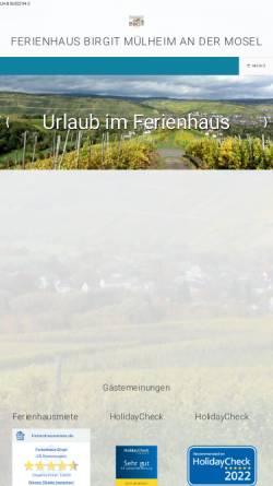 Vorschau der mobilen Webseite www.haus-birgit.com, Urlaubsdomizil Ferienhaus Birgit in Mülheim an der Mosel