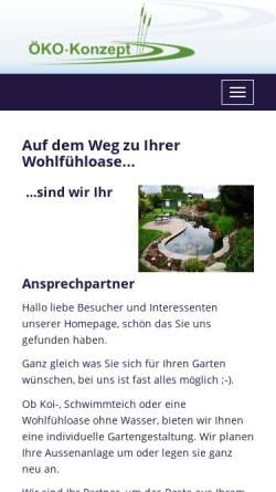 Vorschau der mobilen Webseite www.oeko-konzept.de, Teichbau Öko-Konzept GmbH