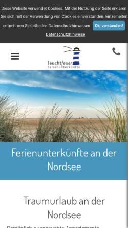 Vorschau der mobilen Webseite www.sanktpeter-ording.de, leuchtfeuer ferienunterkünfte