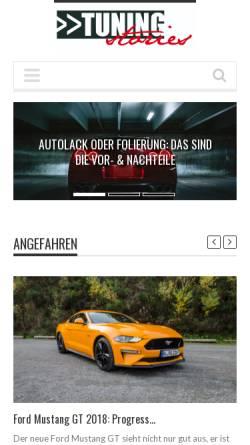 Vorschau der mobilen Webseite www.tuning-stories.de, Tuningstories.de