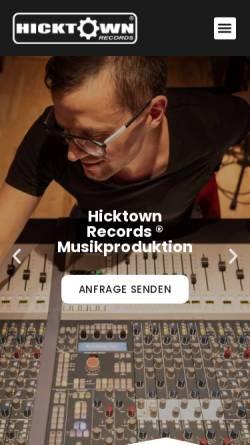 Vorschau der mobilen Webseite www.hicktown-records.de, Hicktown Records