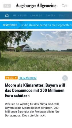 Vorschau der mobilen Webseite www.augsburger-allgemeine.de, Augsburger Allgemeine Zeitung