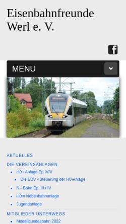 Vorschau der mobilen Webseite www.eisenbahnfreunde-werl.de, Eisenbahnfreunde Werl