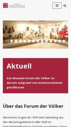 Vorschau der mobilen Webseite www.forum-der-voelker.de, Forum der Völker