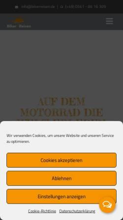 Vorschau der mobilen Webseite www.bikerreisen.de, Biker Reisen - Philipp Hanfland und Peter Schmitz GbR