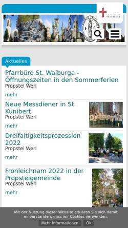 Vorschau der mobilen Webseite www.propstei-werl.de, Propstei St. Walburga