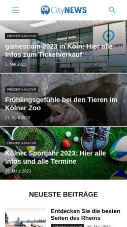Vorschau der mobilen Webseite www.citynews-koeln.de, CityNEWS - das Stadtmagazin für Köln und die Region