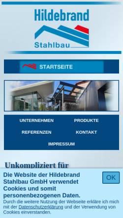 Vorschau der mobilen Webseite www.hildebrand-stahlbau.de, Hildebrand Stahlbau GmbH