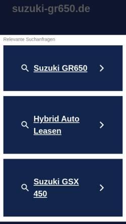 Vorschau der mobilen Webseite www.suzuki-gr650.de, Suzuki Gr 650 Klassiker Youngtimer Twin Seite von Alteisenjo