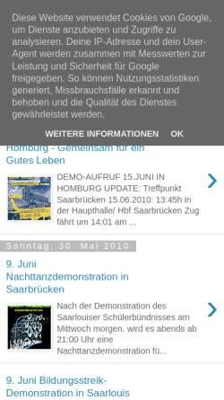Vorschau der mobilen Webseite www.freiebildungsaar.blogspot.com, Freie Bildung Saar