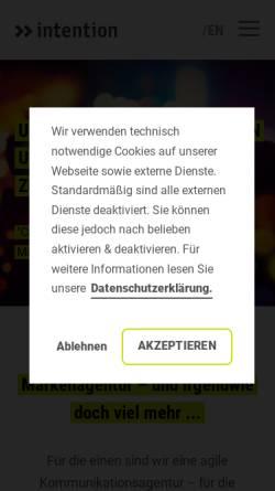 Vorschau der mobilen Webseite www.intention.de, Intention Werbeagentur GmbH