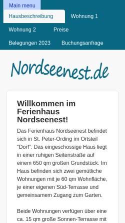Vorschau der mobilen Webseite www.nordseenest.de, Ferienhaus