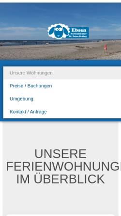 Vorschau der mobilen Webseite www.strandschaufel.de, Ferienhäuser Ebsen