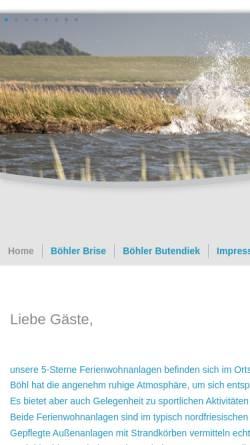 Vorschau der mobilen Webseite www.boehler-butendiek.de, Ferienwohnanlage