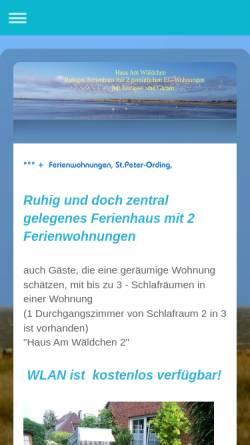 Vorschau der mobilen Webseite sanktpeter-ording.info, Ferienwohnungen Am Wäldchen 2