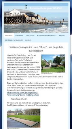 Vorschau der mobilen Webseite ferienwohnungen-schoen-sankt-peter-ording.de, Ferienwohnungen Schön