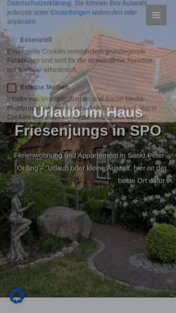 """Vorschau der mobilen Webseite www.friesenjungs-st-peter-ording.de, Haus """"Friesenjungs"""""""