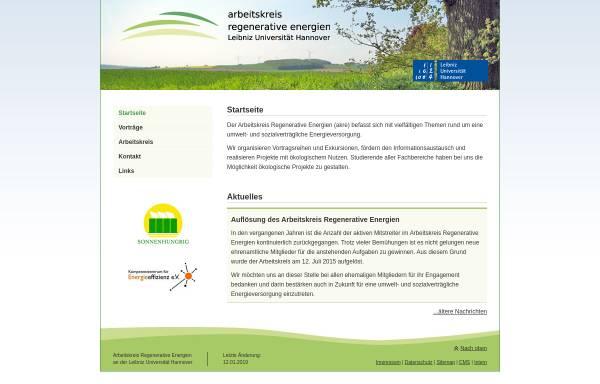 Vorschau von www.neue-energien.org, Arbeitskreis Regenerative Energien (Leibniz Universität Hannover)