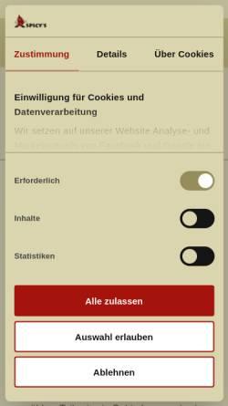Vorschau der mobilen Webseite www.spicys.de, Spicy's Gewürzmuseum