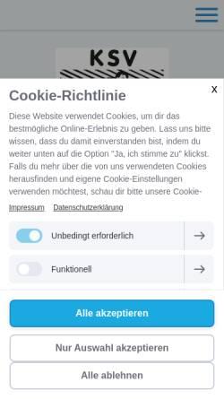 Vorschau der mobilen Webseite www.ksv-rheinfelden.de, Kraftsportverein Rheinfelden (Baden) 1936 e.V.
