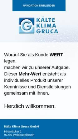 Vorschau der mobilen Webseite www.klima-gruca.de, Kälte Klima Gruca