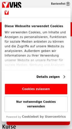 Vorschau der mobilen Webseite www.vhs.at, Volkshochschule Hietzing/Projekt