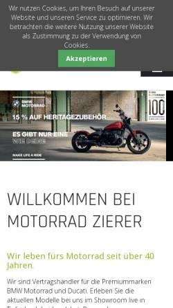 Vorschau der mobilen Webseite www.motorrad-zierer.de, Motorrad Zierer OHG