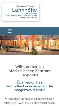 Vorschau der mobilen Webseite www.lahnhoehe-psychosomatik.de, Krankenhaus Lahnhöhe