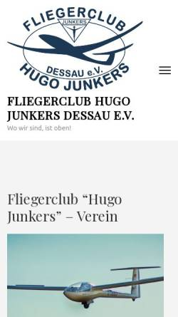 Vorschau der mobilen Webseite fchj.de, Fliegerklub Hugo Junkers Dessau e.V.