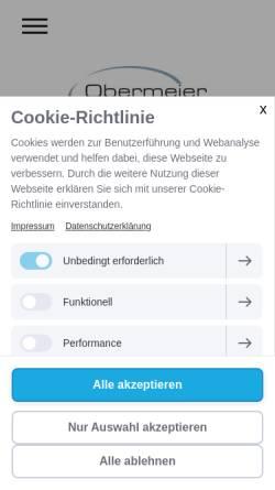 Vorschau der mobilen Webseite www.obermeier-metall.de, Obermeier Metallbearbeitung GmbH