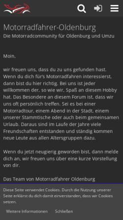 Vorschau der mobilen Webseite www.motorradfahrer-oldenburg.de, Motorradfahrer Oldenburg