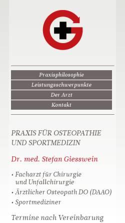 Vorschau der mobilen Webseite www.giesswein-medizin.de, Giesswein, Dr. med. Stefan