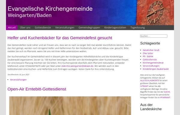 Vorschau von www.ekiwei.de, Evangelische Kirchengemeinde Weingarten (Baden)