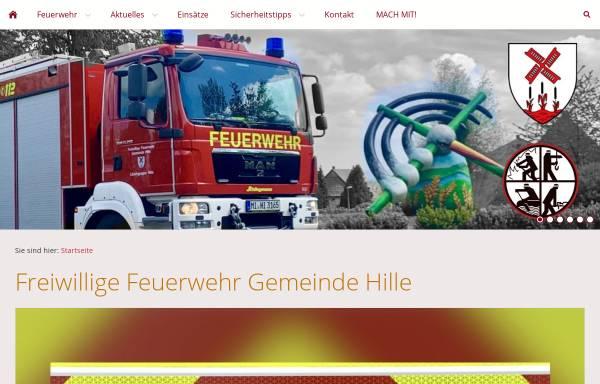 Vorschau von www.feuerwehr-hille.de, Freiwillige Feuerwehr der Gemeinde Hille