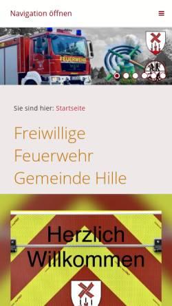Vorschau der mobilen Webseite www.feuerwehr-hille.de, Freiwillige Feuerwehr der Gemeinde Hille