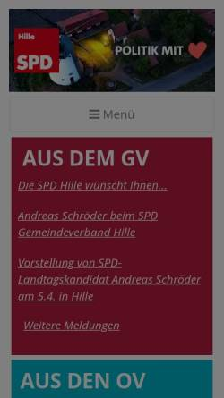 Vorschau der mobilen Webseite spd-hille.de, SPD Hille
