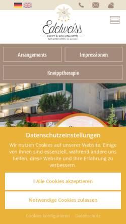 Vorschau der mobilen Webseite www.hotel-edelweiss.de, Kneipp-Kurhotel Edelweiss
