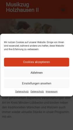 Vorschau der mobilen Webseite www.musikzug-holzhausen.de, Musikzug der Freiwilligen Feuerwehr Hille - Holzhausen II