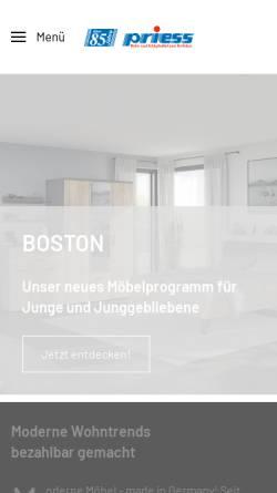 Vorschau der mobilen Webseite www.priess-moebel.de, Friedrich Priess GmbH & Co. KG