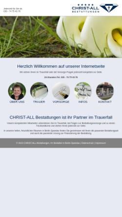 Vorschau der mobilen Webseite www.christ-all-bestattungen.de, Christ-all Bestattungen e. Kfm