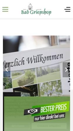 Vorschau der mobilen Webseite www.hotel-griepshop.de, Bad Griepshop