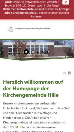 Vorschau der mobilen Webseite www.kirchengemeinde-hille.de, CVJM Hille Fußballtreff