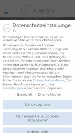 Vorschau der mobilen Webseite www.spreenfang.de, Ferienwohnungen Spreenfang